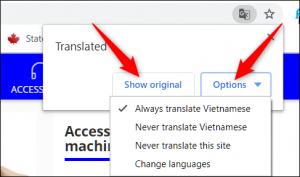 chrome: opzioni traduzione