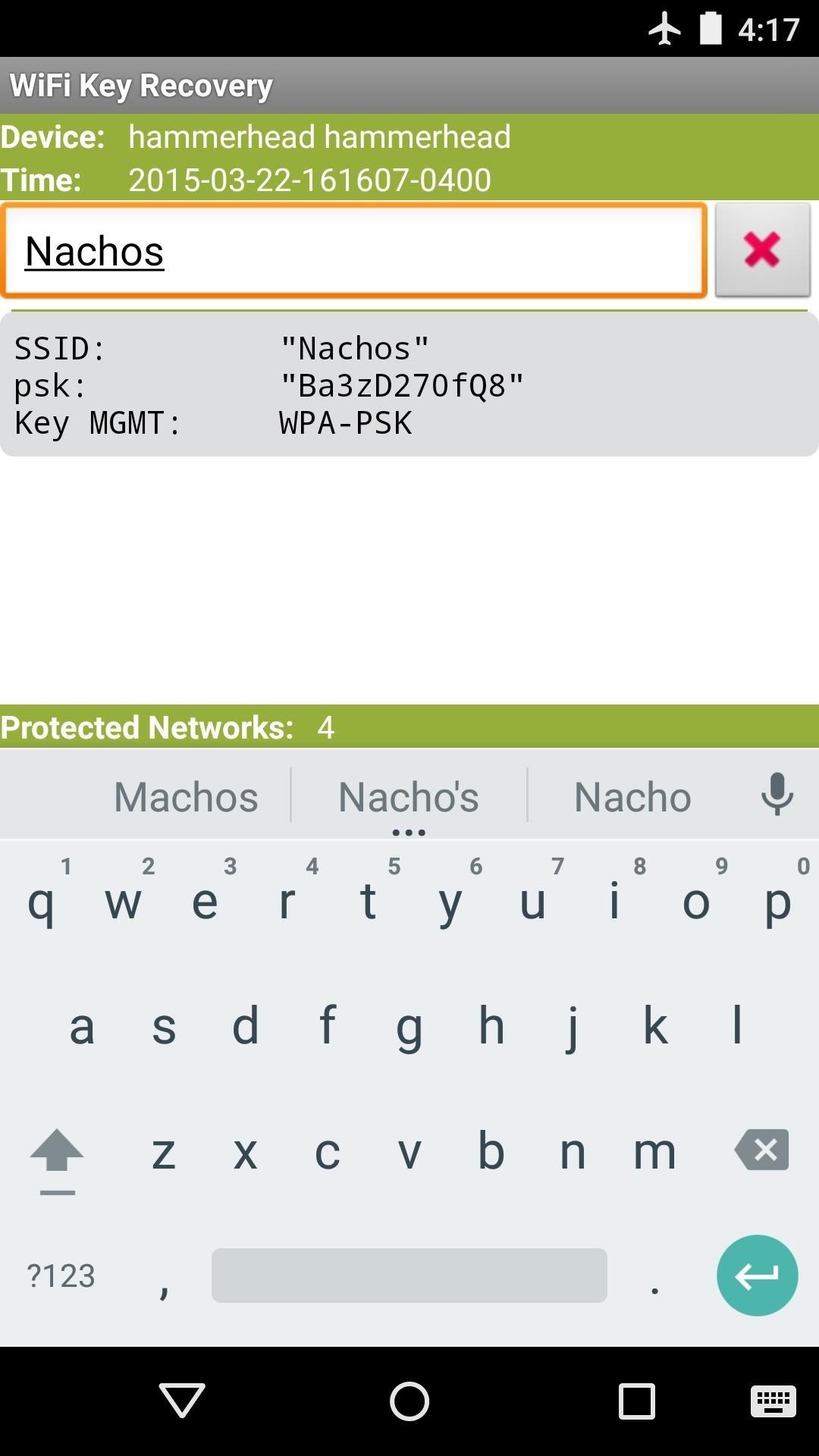 Risultati SSID Quicksearch