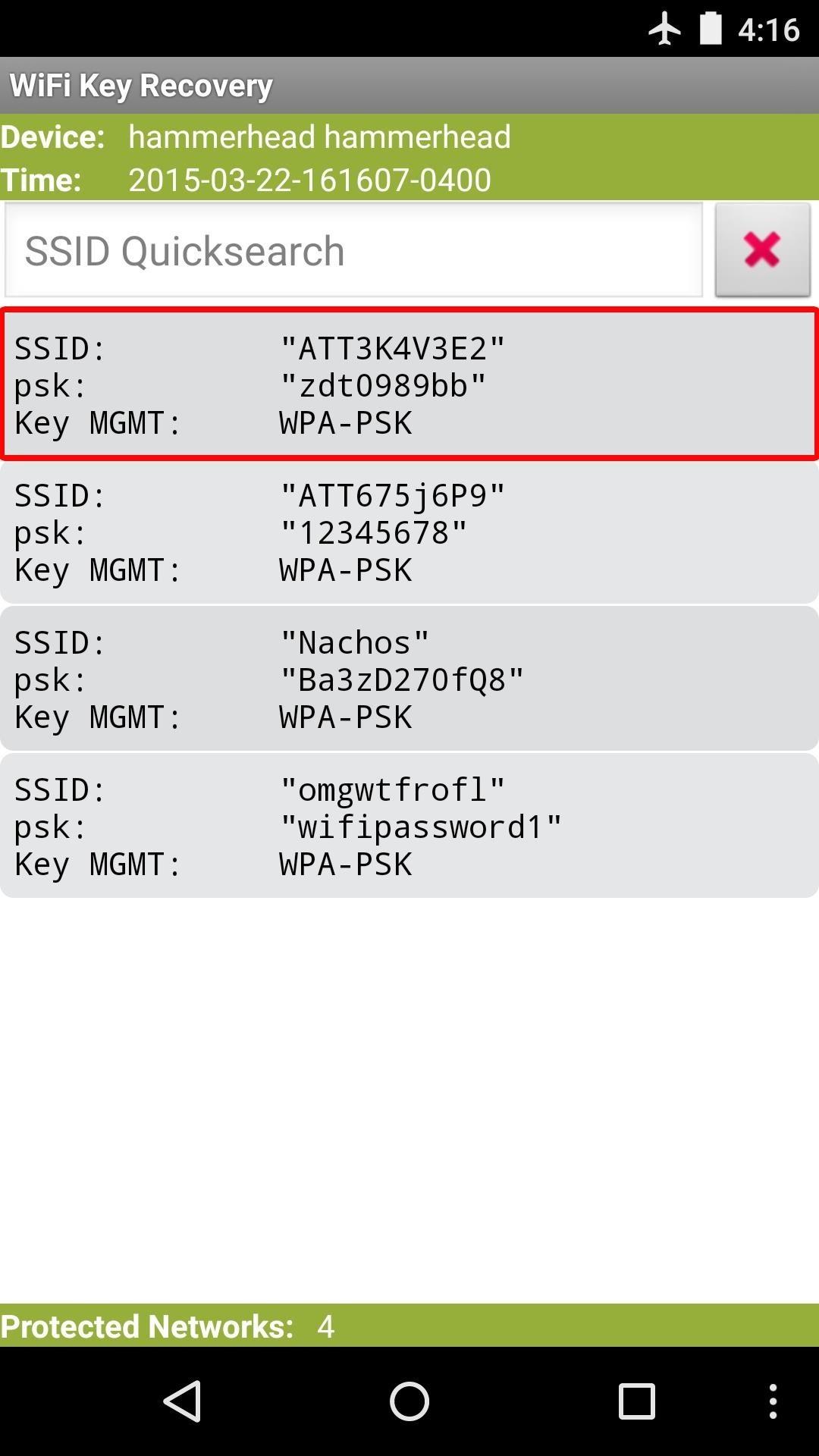 Wi-Fi condivisone password