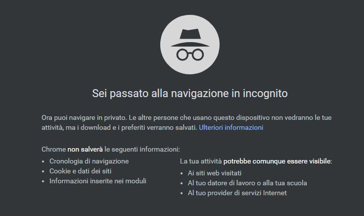 navigazione incognito - google chrome