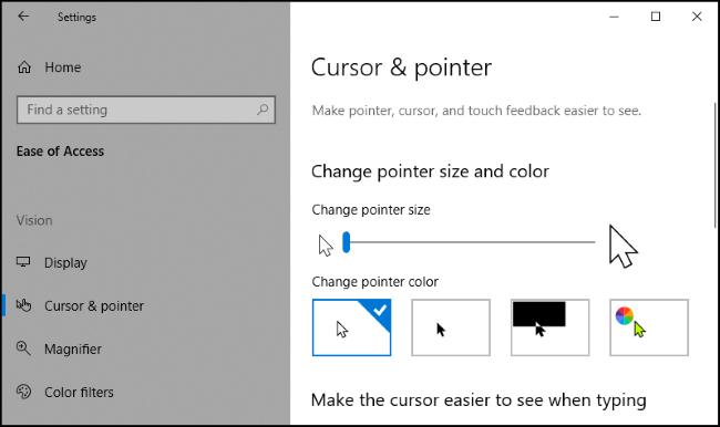 Cambiare la dimensione del cursore