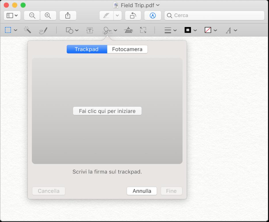 """La pagina principale dell'applicazione """"Anteprima"""""""
