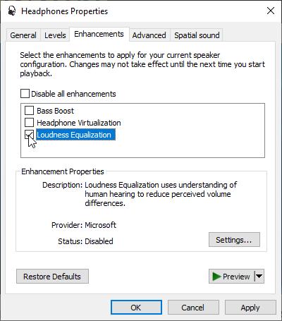 """L'opzione """"Equalizzazione volume"""", nella scheda """"Miglioramento"""", di Windows 10."""