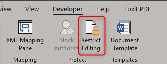"""Questa è l'icona di """"Limita modifica"""""""