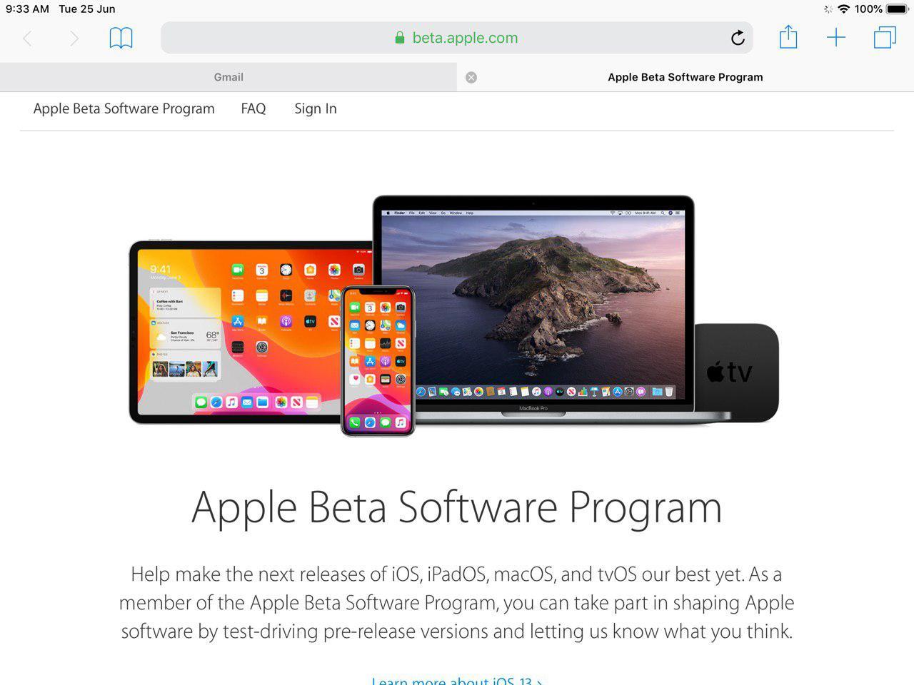 registrazione programma beta iPadOS