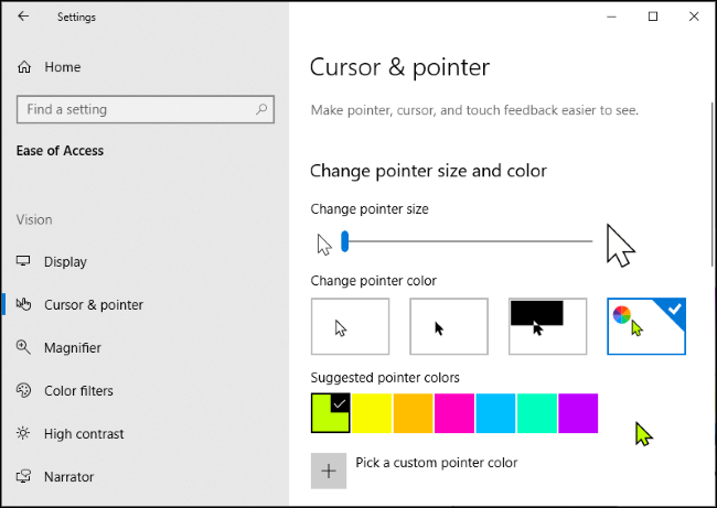 Cambiare il colore del cursore
