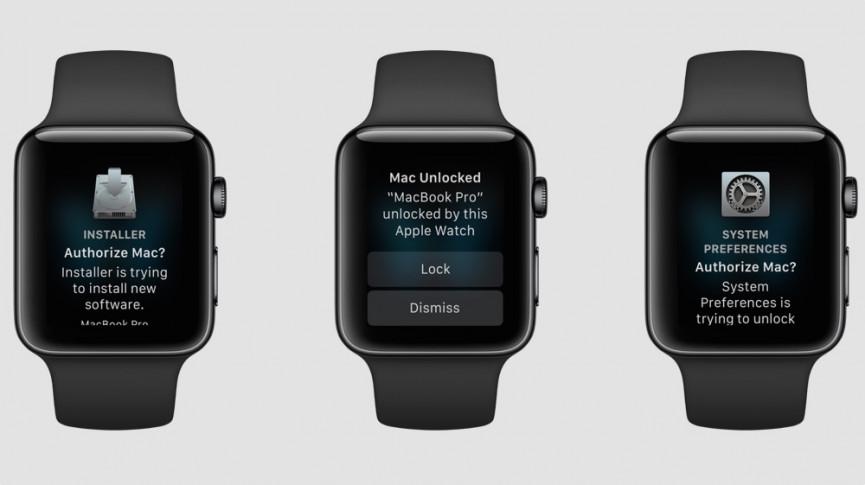Un Apple Watch in cui troviamo la richiesta er autorizzare lo sblocco del Mac