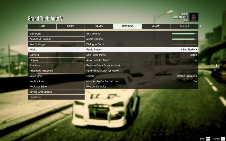 Il menu da cui è possibile aumentare il volume di GTA 5