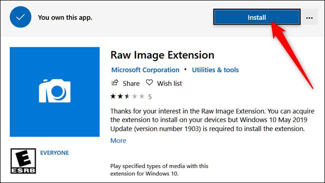La pagina ufficiale dello store Microsoft dedicata a Raw Images Extension