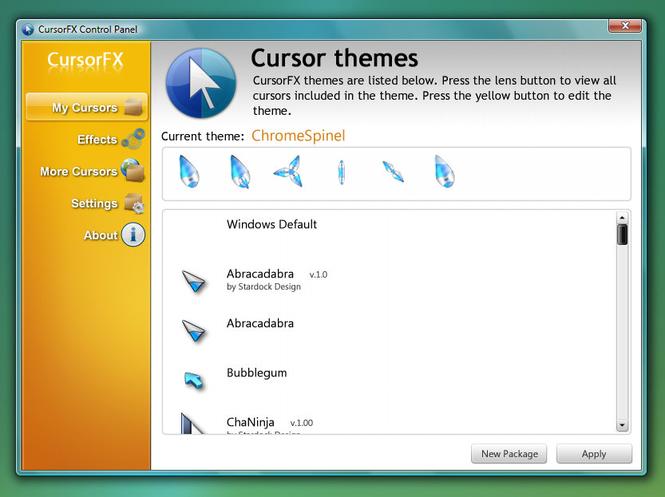 La schermata di CursorFX