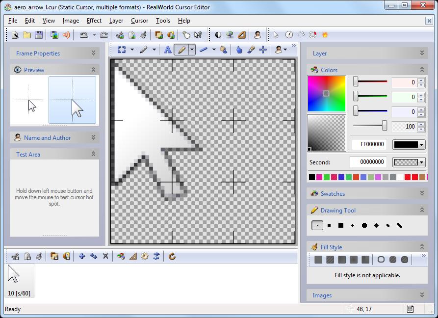 Il tool RealWorld Cursor Editor: la schermata