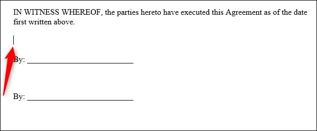 Un esempio di contratto in Word