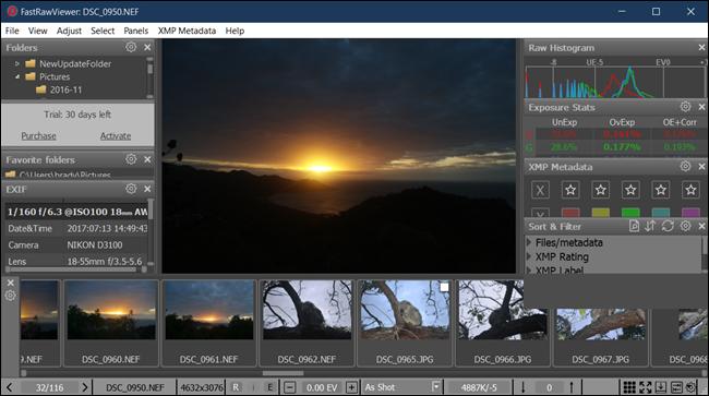 La schermata principale di FastRawViewer