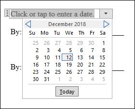 Il selettore della data nel contratto aperto con Word