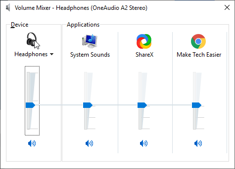 Il mixer volume e le applicazioni attualmente aperte nel PC con Windows 10