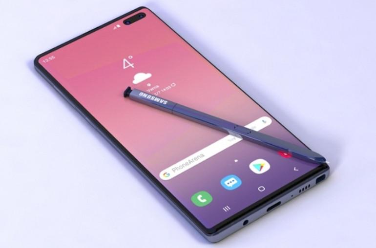 Il rendering di Samsung Galaxy Note 10 Pro