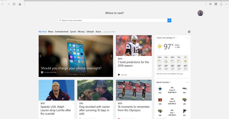La pagina principale del browser Edge