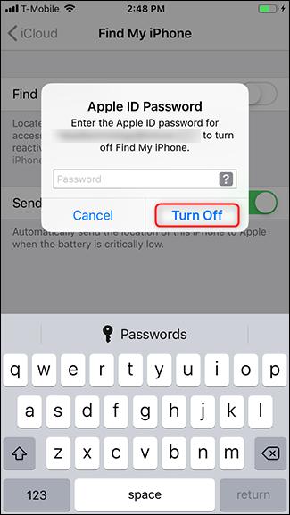 """La schermata in cui inserire la password e disattivare """"trova il mio iPhone"""""""