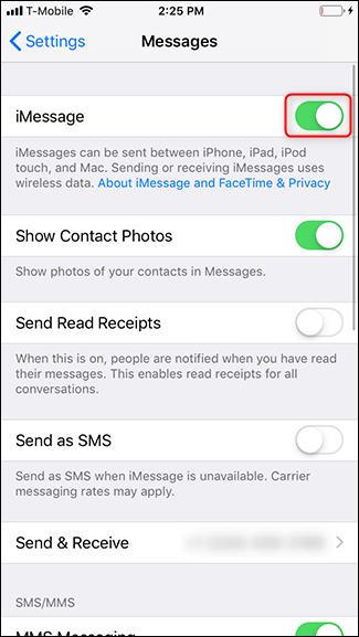 Il pulsante utile per disattivare iMessage in iPhone