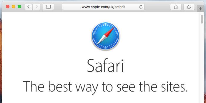 La pagina principale del browser Safari