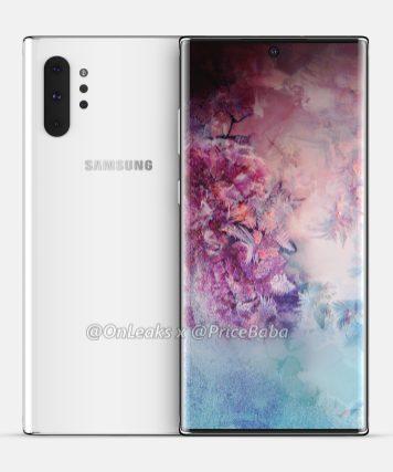 La parte posteriore e anteriore di Samsung Galaxy Note 10 Pro