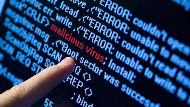 """La parola """"malicious virus"""" emerge in un codice"""