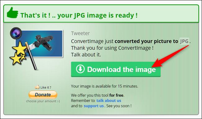 L'ultima schermata della piattaforma per esportare il file JPG