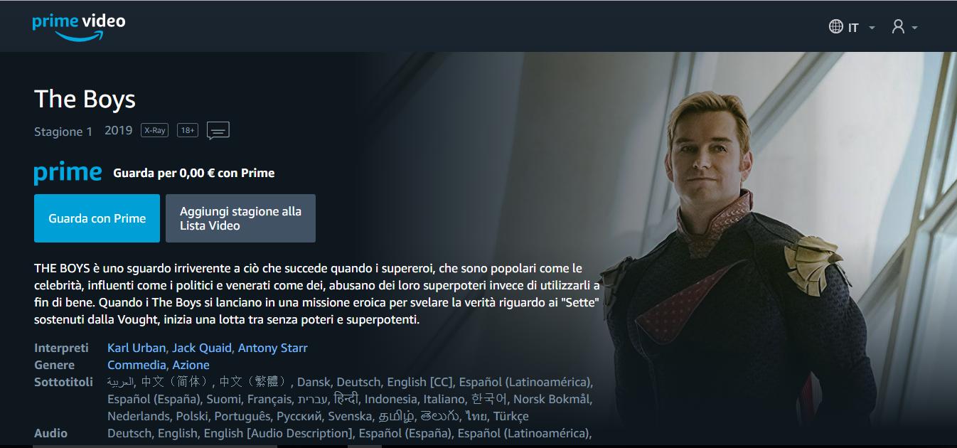 La pagina principale di Amazon Prime Video