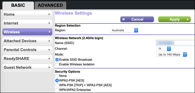 Le impostazioni di internet del Wi-Fi