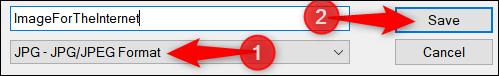 Inserire il nome e l'estensione del file JPG da salvare