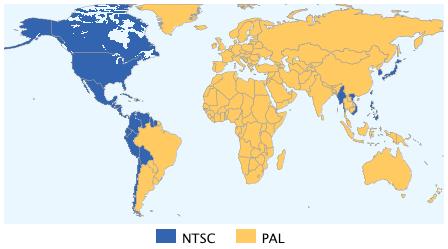Mappa diffusione NTSC e PAL