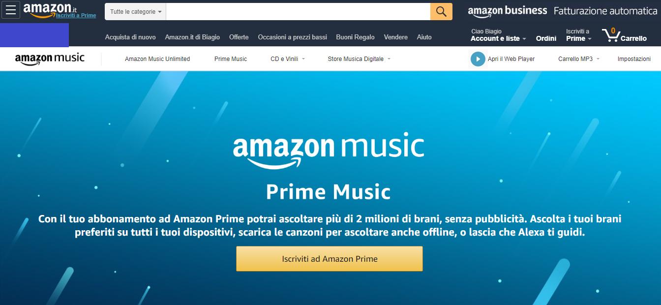 La pagina principale di Amazon Prime Music