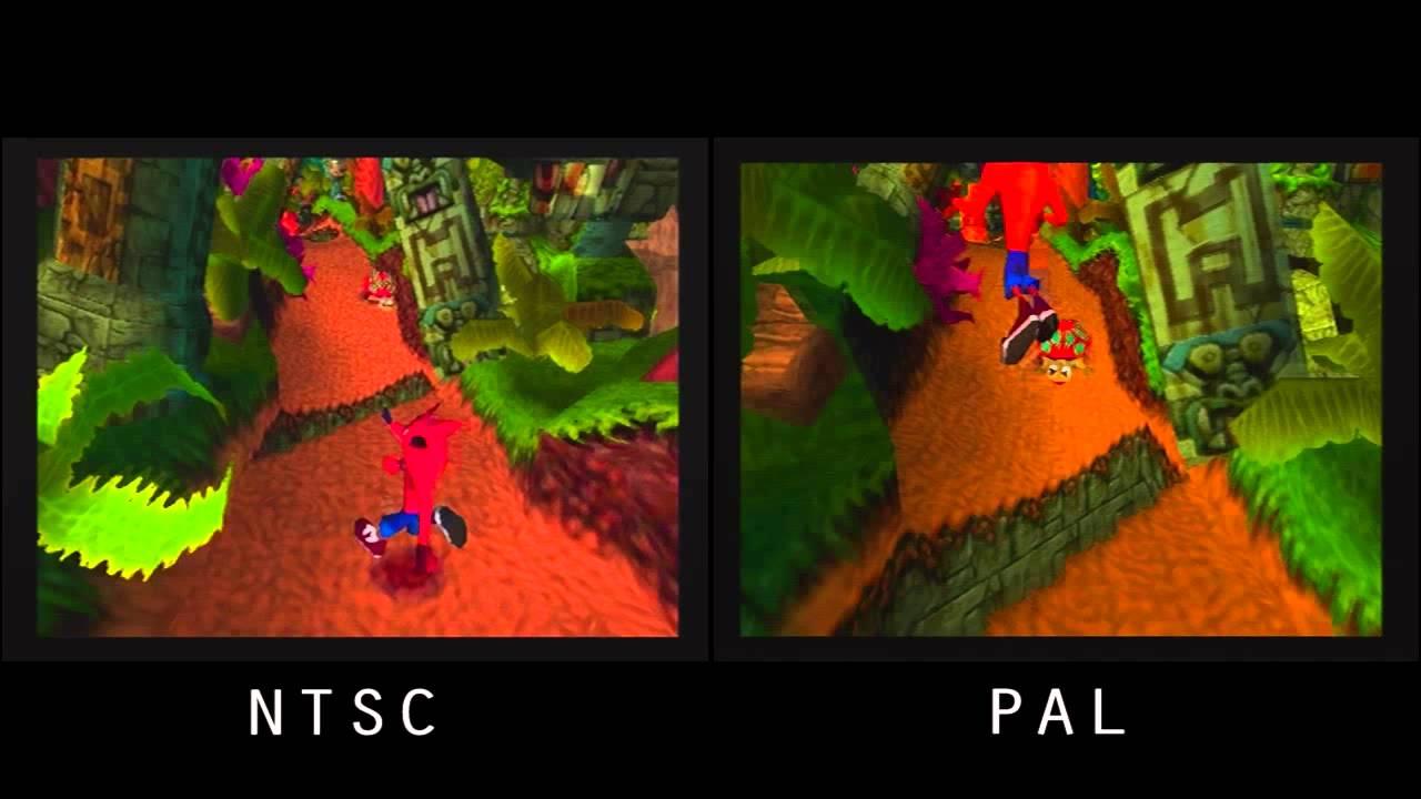 Il videogioco Crash viene usato per mostrare la differenza tra NTSC e PAL