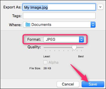 La schermata di Anteprima dove inserire il nome del file JPG