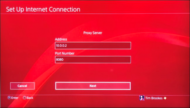 Scegliere il server proxy in PS4