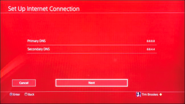 DNS primario e secondario in PS4