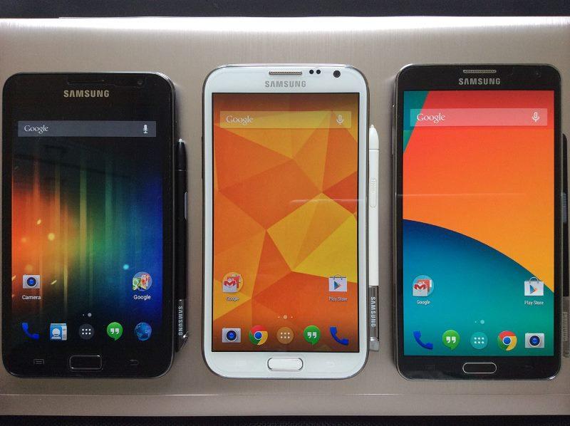 Samsung Galaxy Note 1,2 e 3