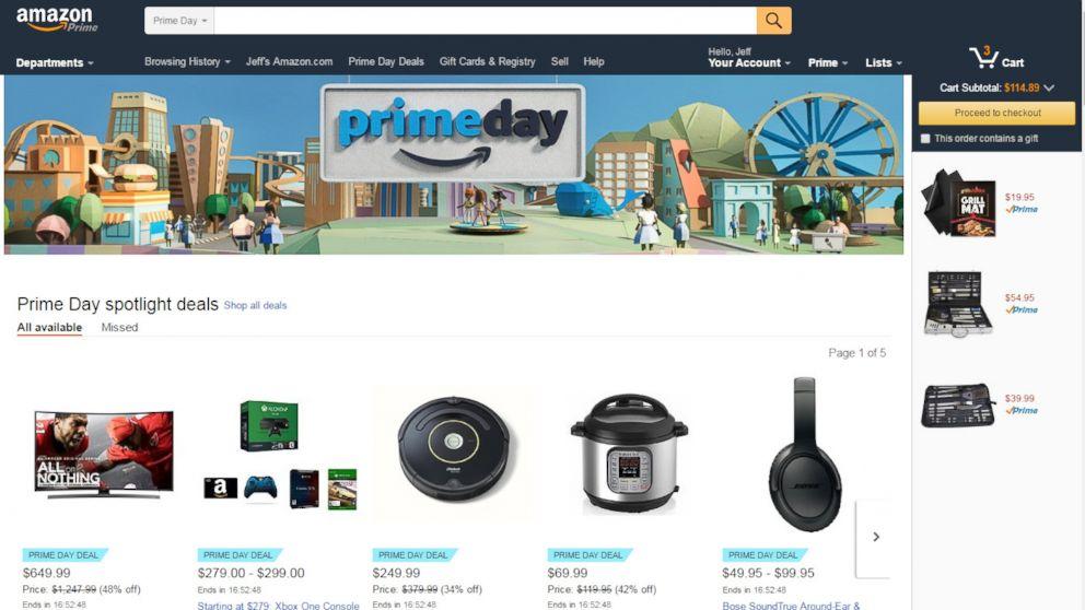 L'home page di Amazon durante il Prime Day
