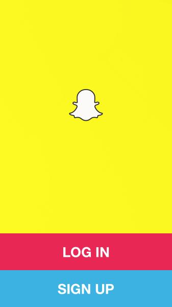 I due pulsanti di Snapchat che permettono di creare un nuovo account o di accedere