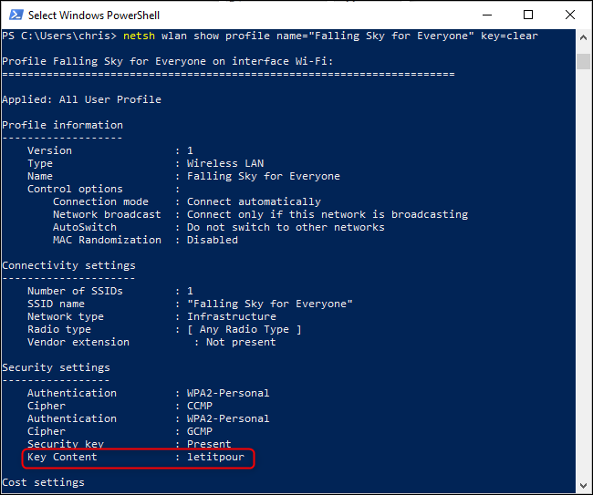 La password della rete Wi-Fi con PowerShell
