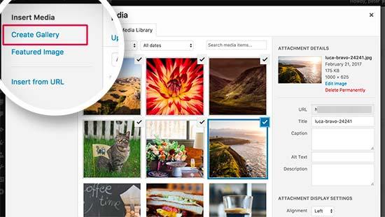 La schermata principale di WordPress