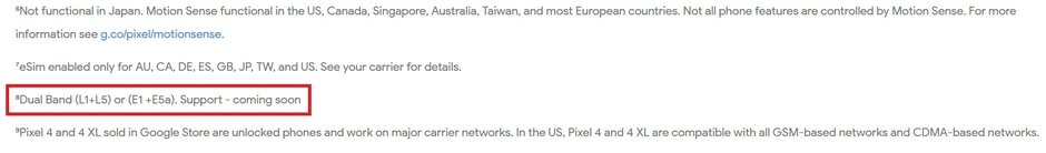 google pixel 4 dualband