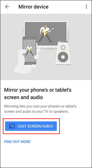 "Google Home per Android: il tasto ""Cast Screen/Audio"""