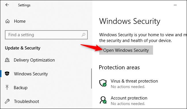 La voce per accedere a Windows Security