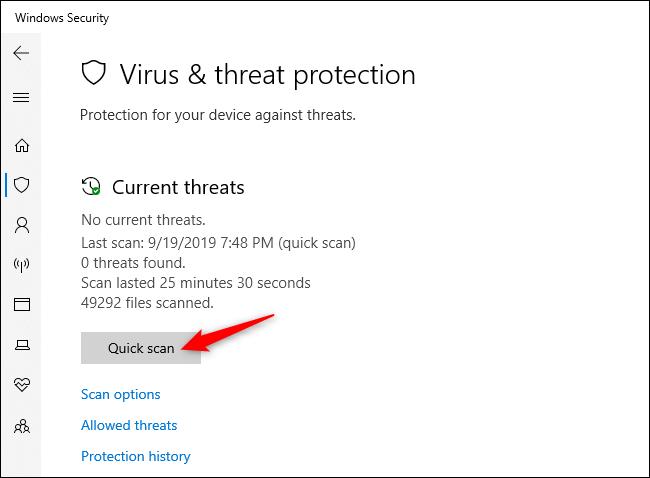 """La voce """"Scansione rapida"""", utile per scoprire se esistono virus"""