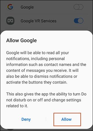 Acconsentire e dare l'autorizzazione a Google