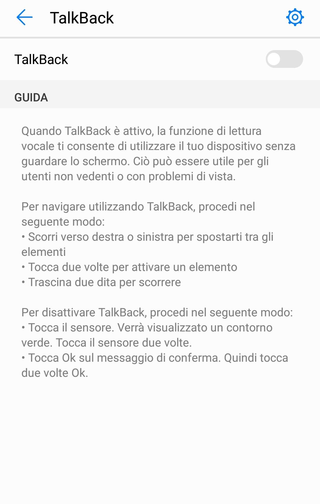 Disattivare TalkBack