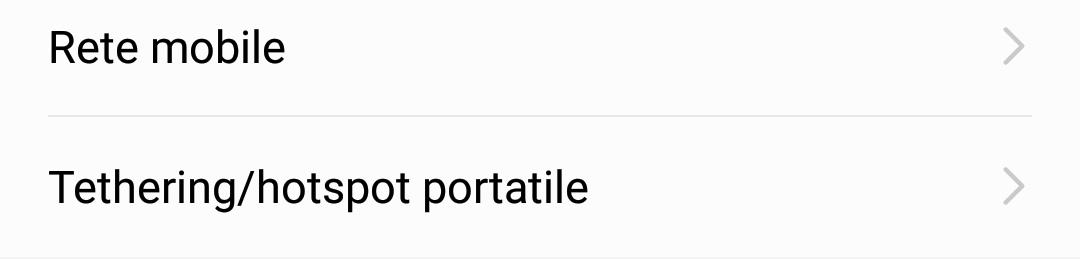 "La voce ""Tethering/hotspot portatile"""