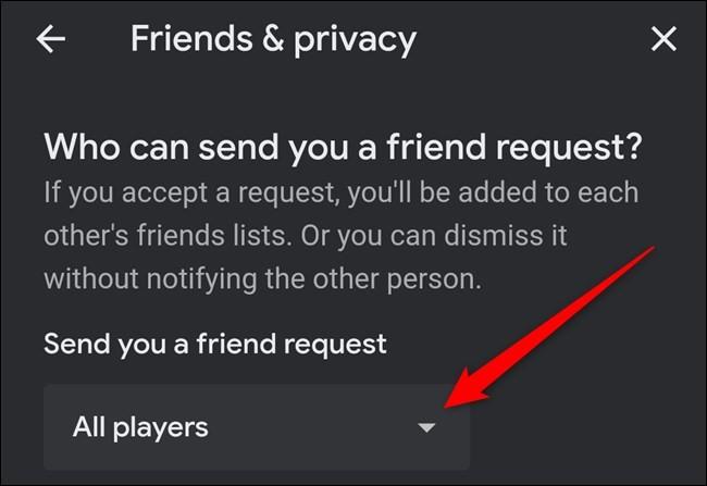 """""""Amici e privacy"""" e il menù a tendina"""