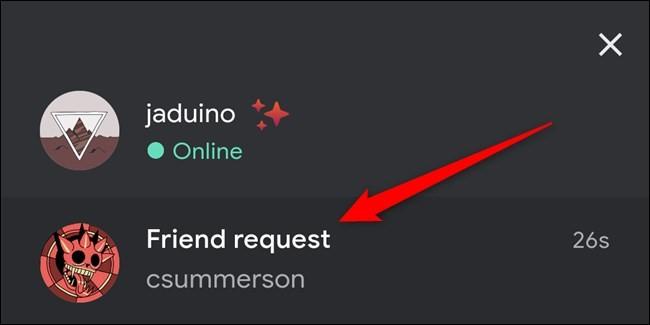 Una richiesta di amicizia su Google Stadia